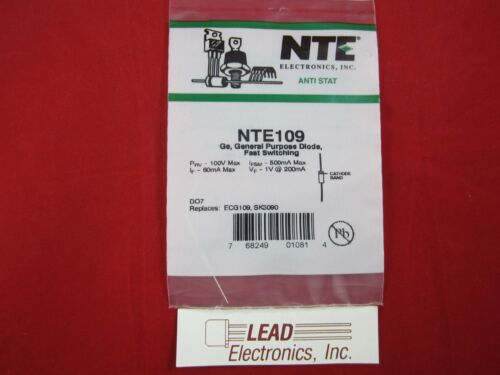 NTE109 General Purpose Diode Fast Switching axial leads AUTHORIZED DISTRIBUTOR