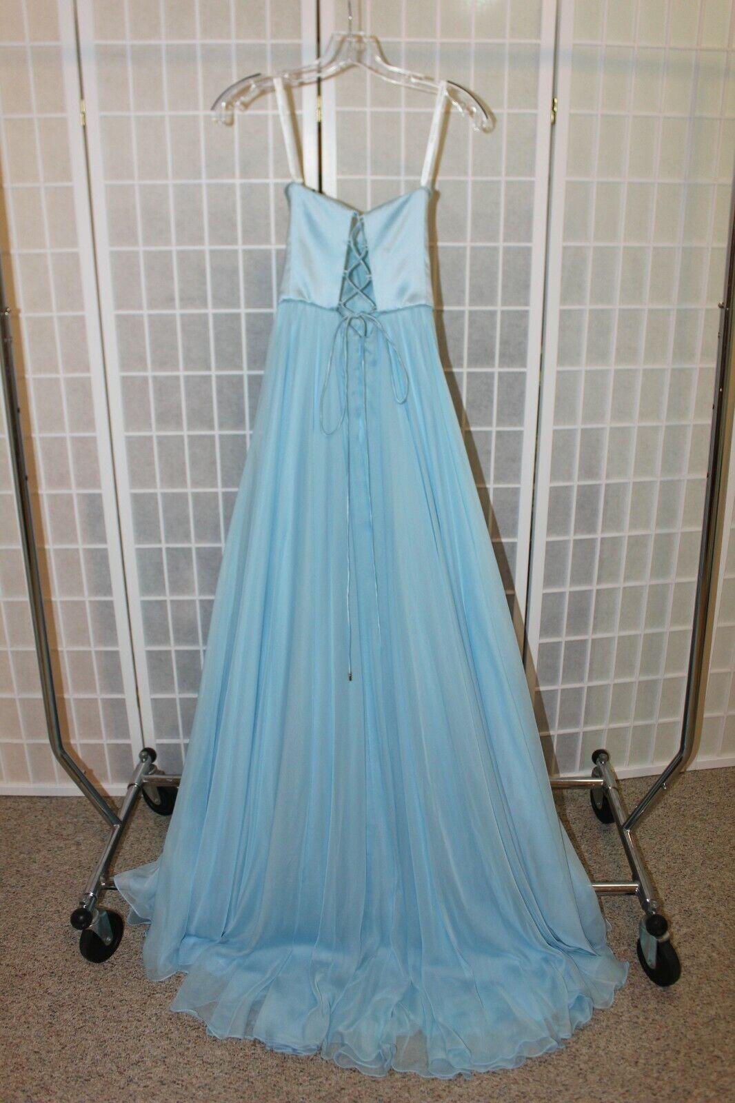 NWT Sherri Hill 53574 Size 2 Lt blue satin/chiffon A line Lace up back PROM