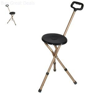 Fantastic Details About 2 In 1 Walking Cane Chair Folding Portable Travel Camp Walking Tripod Stick New Machost Co Dining Chair Design Ideas Machostcouk