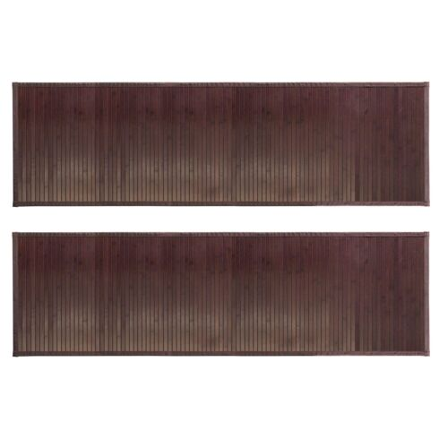 mDesign Water-Resistant Bamboo Floor Mat for Bathroom Pack of 2 Extra Large,