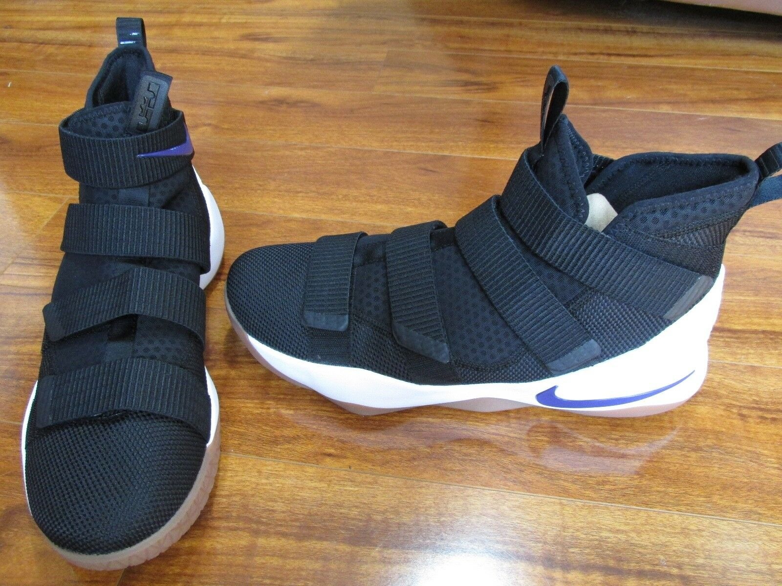 e4dcf346cc1 New Nike ID ID ID LeBron Soldier XI Basketball Shoes MENS 14 BLACK PURPLE  WHITE A02577 10d32c