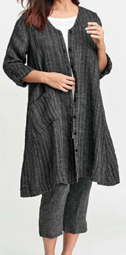 FLAX Designs  LINEN  DRESS    L    NWOT  Essential  Duster  Denim TICKING