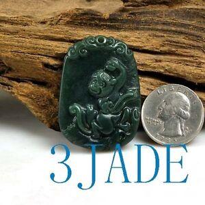 Natural nephrite jade monkey amulet pendant carving ebay image is loading natural nephrite jade monkey amulet pendant carving aloadofball Images