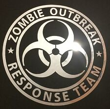 1 NEW CHROME ZOMBIE OUTBREAK RESPONSE TEAM BIOHAZARD LOGO DECAL STICKER EMBLEM