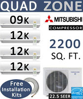 45000 Btu Quad Zone Ductless Split Air Conditioner Heat Pump: 9000 + 12000 X 3