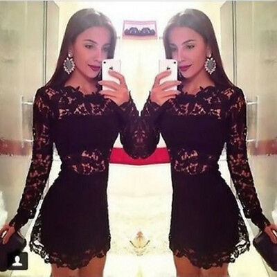 Womens Sexy Black Lace Floral Bodycon Party Cocktail Evening Mini Pencil Dress