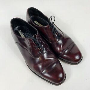 FLORSHEIM-Mens-Burgundy-Leather-Oxfords-Sz-11D-Cap-Toe-Lace-Up-Shoes