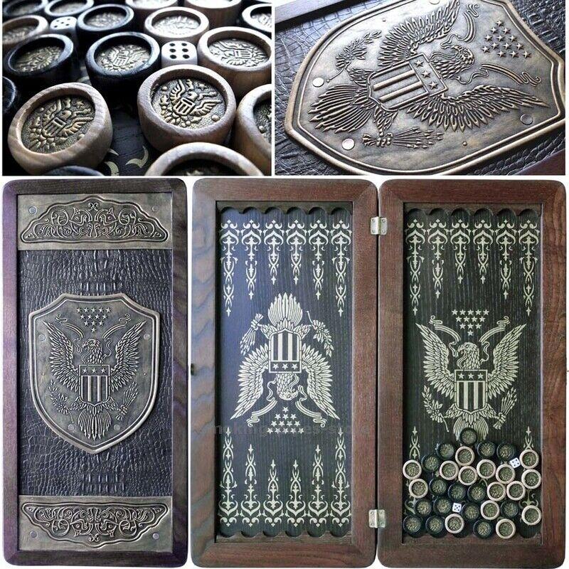 American Eagle Placa de Cuero de madera grande de EE. UU. juego De Mesa Backgammon Set 21  510mm