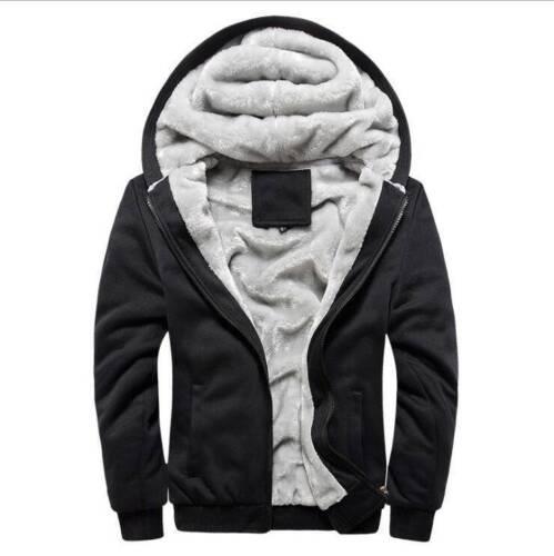 Mens Winter Hooded Coat thick Fleece Fur Lined Zip Hoodie Jacket Sweatshirt US