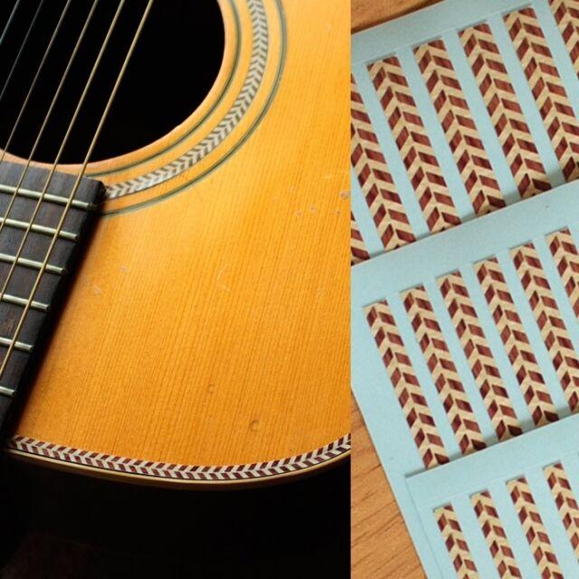 Binding Elastic Sticker Decal (Woody Herringbone) For Body, Guitar, Ukulele
