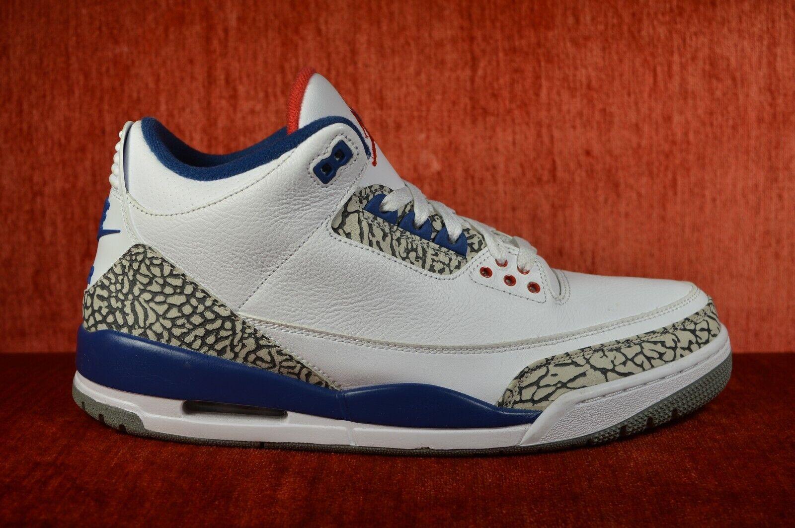 WORN TWICE Nike Air Jordan 3 True bluee Size 11 2016 854262-106 White Red