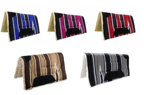 New Cotton Saddle Pad Woven Western Rug Soft Padded Navajo Design Leather patchs