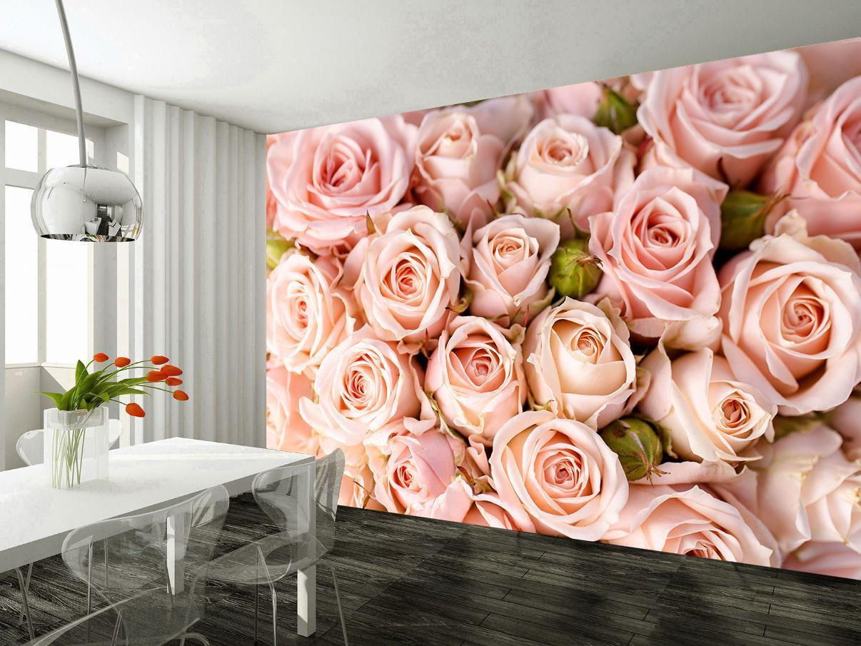 Pink pinks Flowers Wallpaper Woven Self-Adhesive Wall Mural Art Decal M166