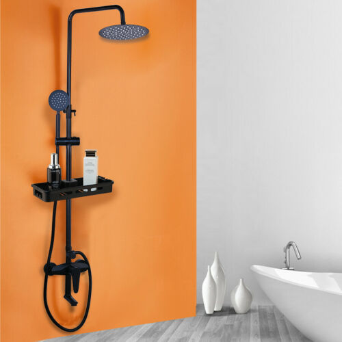 Bathroom Black Shower Faucet Set Wall Mounted+Handle Mixer Shower Tap+Shelf Kit