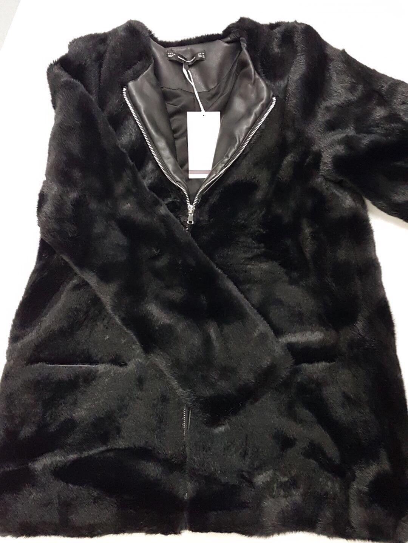 ZARA noir long fausse fourrure hommeteau veste avec zip et poches Petit S