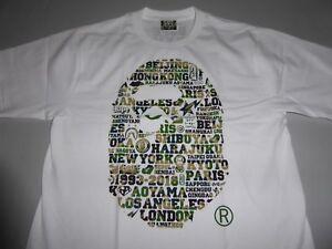 bf6dc0f7 17289 bape xxv cities camo ape head white/green tee L   eBay