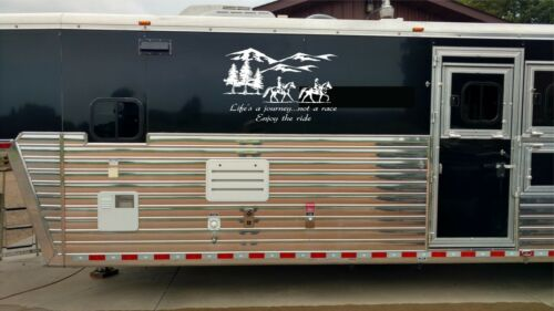 Horse Landscape Life is a Journey Horse Trailer Equestrian RV Decal Stickers