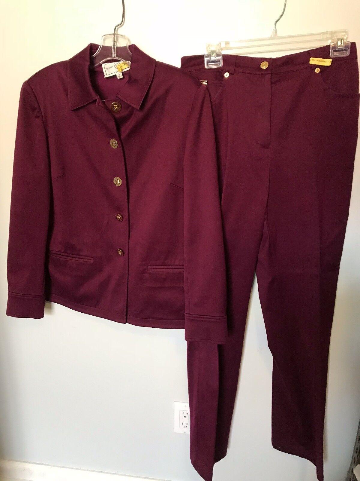 St John Plum Cotton Pant Suit - Size S