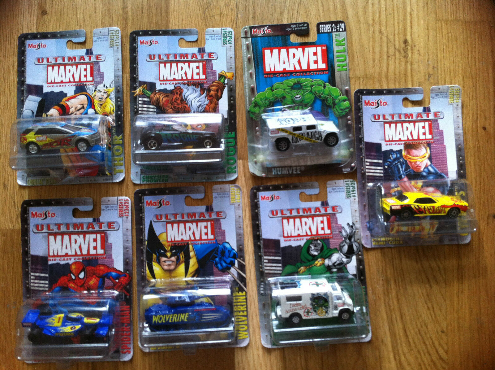 Maisto Ultimate Marvel 7 Vehicles Cars Series 1 and 2 X-men Avengers UK Seller