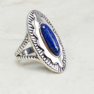 SOUTHWESTERN-HIGHLY-REFLECTIVE-STERLING-SILVER-LAPIS-RING-SIZE-6-QVC-85