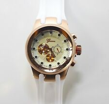 White Rose Gold Geneva Watch W/Round Heavy Case Hard Rubber Oversized Sport Mens