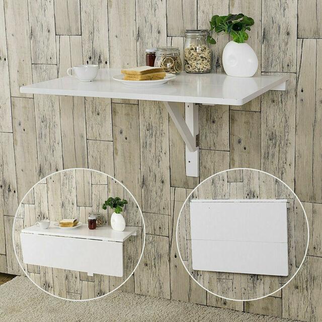 Ordinaire Folding Wall Mounted Table Space Saving Drop Leaf Desk Small Lays Flat Half  Fold