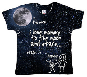"DF Baby T-Shirt All Over Print ""I Love Mummy to Moon & Stars and Back"" Cute Gift"