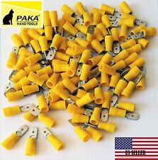 300 PCS YELLOW Male Vinyl  Insulated Spade Wire Connector Terminals 12-10 AWG MD