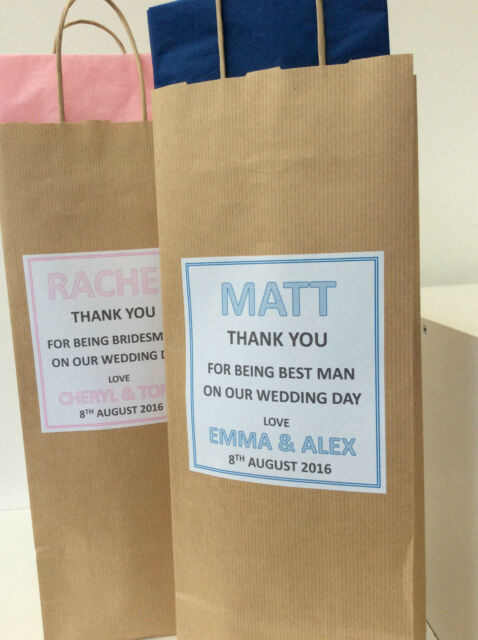 Personalised Brown Kraft Paper Bottle Gift Bag with tissue paper