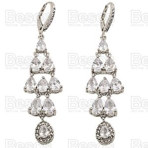3-034-long-CUBIC-ZIRCONIA-EARRINGS-crystal-WHITE-GOLD-SILVER-TONE-LEVER-BACK-UK-GIFT