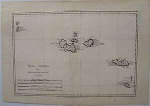 CARTE- ISLES ACORES. par Bonne. Carte originale de 1788. Dimensions de la feuill 8JQrJdDF-09152817-657025587
