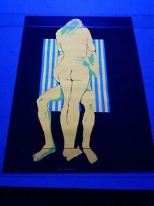 Vintage Blacklight Hippie Poster The Embrace Love Nude Funky Feature 1969