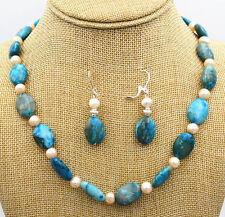 13x18mm Blue Crazy Lace Agate Gems pearl Freshwater Necklace + earring set