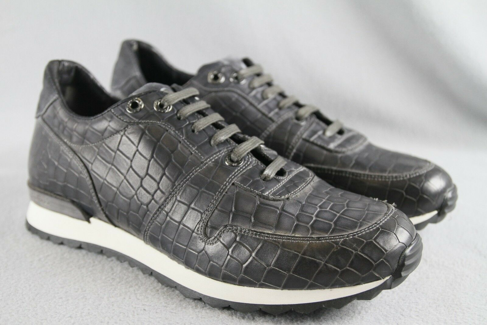 398 Robert Graham AMAZON Gray Croc Embossed Italian Leather Lace Up Size 11 ANB