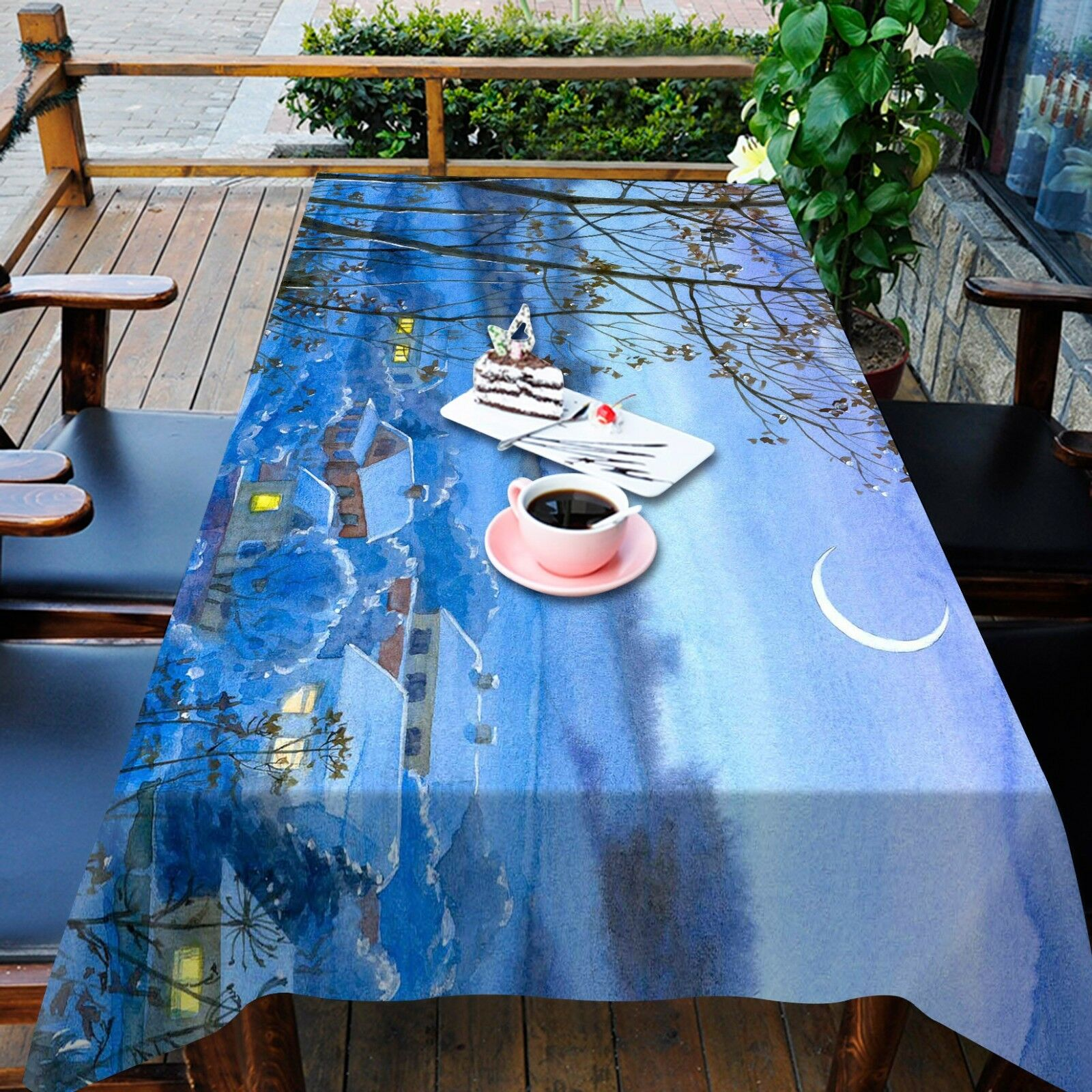 3D Lune Nuit Nappe Table Cover Cloth fête d'anniversaire AJ papier peint Royaume-Uni Citron