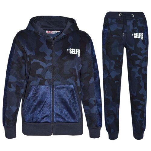 Kids Girls Tracksuit Navy Designer/'s #Selfie Camouflage Jogging Suit 5-13 Years