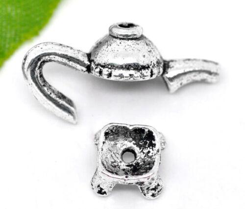 LP 10 Antiksilber Teekanne Perlen Beads Ende Kappen Perlenkappen 21x11mm 8x4mm