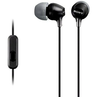SONY MDR-EX15AP BLACK Fashion Color EX Series Earbud Headset with Mic /Brand New