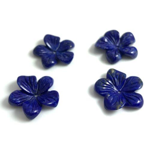 1 PC Natural Lapis Tallado Flor 18mm una al por mayor nuevo diseño de bricolaje azul del grano