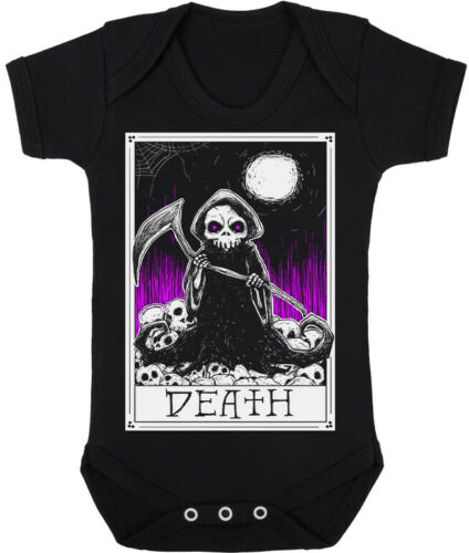 Kids Baby Grow Suit Death Tarot Card Grim Reaper Gothic alternative gift