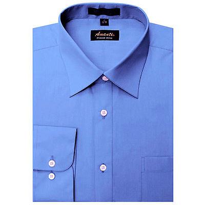 Mens Dress Shirt Plain French Blue Modern Fit Wrinkle-Free Cotton Blend Amanti