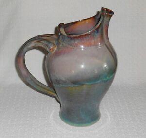 Robin-Morris-Dunnmorr-Studio-Art-Pottery-Flambeaux-Drip-Glaze-10-034-Water-Pitcher