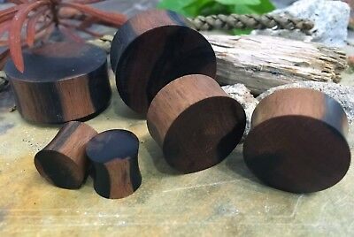Organic Handmade Carved Zebra Wood Concave/Convex Ear Plugs Gauges 0G - 1 3/8""