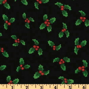 Quilting-Treasures-Loralie-Very-Fairy-Christmas-Lots-a-Holly-Cotton-Fabric-BTY