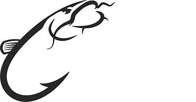 Catfish Hook Fishing vinyl decal sticker U Pick Color Size