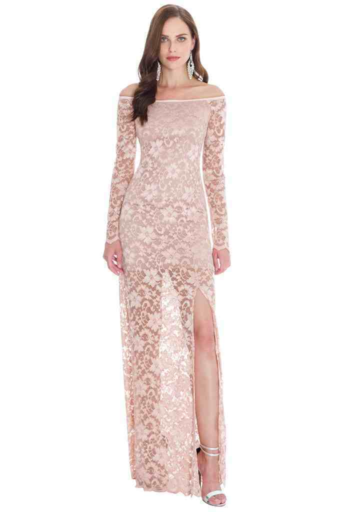 Womens Ladies Lace Bardot Party Long Maxi Split Sexy Valentines Prom Pink Dress