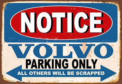 100% Vero Avviso Volvo Parcheggio Solo Metallo Tin Sign Targa Poster Wall- Forte Imballaggio