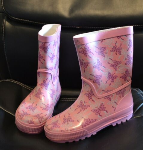 EU 31 PINK BUTTERFLY WELLIES Welly WELLINGTON BOOTS UK 12 NEW REQUISITE
