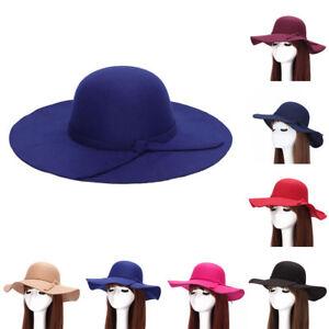 11c5eff077f UK  NE  Vintage Wide Brim Wool Felt Bowler Fedora Hat Women Ladies ...