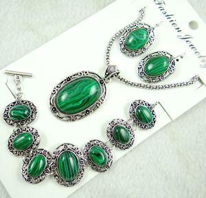 Women-Tibetan-Silver-malachite-Pendant-Necklace-Bracelets-earrings-AG-7